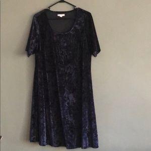 Dress Barn Crushed Velvet Dress 1X EUC